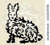 hand drawn decorative rabbit ... | Shutterstock .eps vector #161024558