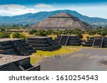 View of the pyramids of Teotihuacan, ancient city in Mexico, located in Valley of Mexico. Teotihuacan pyramids Moon and Sun -Aztecs. UNESCO world heritage