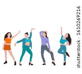 flat style dancing girl  set ... | Shutterstock .eps vector #1610269216