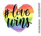 love wins lettering on...   Shutterstock .eps vector #1610285449
