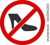 No Lady Shoe Vector Icon. Flat...