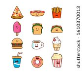 food and drink cartoon clipart... | Shutterstock .eps vector #1610370013