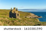 The old ruin of Dunskey Castle just outside Port Patrick