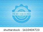 Northbound water wave representation emblem background. Vector Illustration. Detailed.