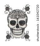 art skull day of the dead. hand ...   Shutterstock . vector #161042720