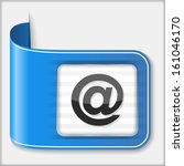 blue ribbon with email symbol