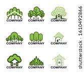 set of house green tree logo   Shutterstock .eps vector #1610492866