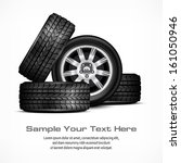 car black new wheels on white... | Shutterstock .eps vector #161050946
