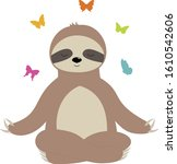 sloth meditates butterfly...   Shutterstock .eps vector #1610542606