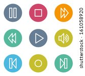 media player web icons  color... | Shutterstock .eps vector #161058920