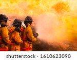 Fireman Fighting A Bush Fire I...