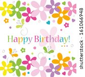 hearts flowers and butterflies... | Shutterstock .eps vector #161066948
