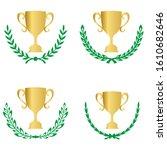 green realistic set of circular ... | Shutterstock .eps vector #1610682646