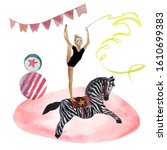 Ircus Acrobat Riding A Pony In ...