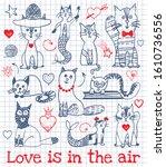 cat doodle happy valentine's... | Shutterstock .eps vector #1610736556