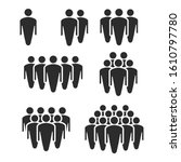 people crowd silhouette icons....   Shutterstock . vector #1610797780