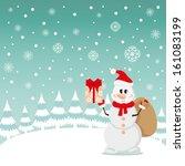 postcard snowman and snow... | Shutterstock . vector #161083199