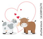 cute cow couple illustration... | Shutterstock .eps vector #1610892670