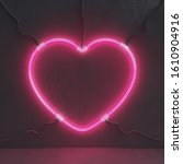 neon pink heart sign used to... | Shutterstock . vector #1610904916
