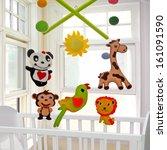baby crib mobile | Shutterstock . vector #161091590