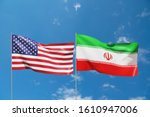 United States And Iran Flags...
