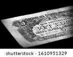 Outdated banknote of five CZK issued in 1944. Black and white