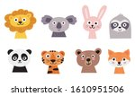 cute animal faces set. hand... | Shutterstock .eps vector #1610951506