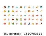 icon set design  eat food... | Shutterstock .eps vector #1610953816