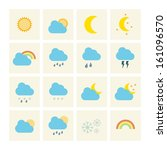 weather icons with yellow... | Shutterstock .eps vector #161096570