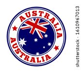 australia sign. round country... | Shutterstock .eps vector #1610967013