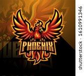 phoenix esport mascot logo... | Shutterstock .eps vector #1610991346