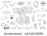 hand drawn hipster style doodle ... | Shutterstock .eps vector #1611013096