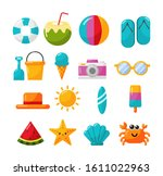 collection of summer icons... | Shutterstock .eps vector #1611022963
