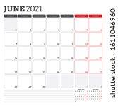 june 2021. monthly calendar... | Shutterstock .eps vector #1611046960