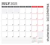 july 2021. monthly calendar... | Shutterstock .eps vector #1611046966