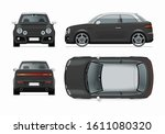 modern compact city car mockup. ... | Shutterstock .eps vector #1611080320