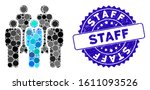 mosaic staff icon and grunge... | Shutterstock .eps vector #1611093526