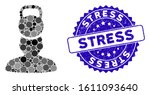 mosaic head weight stress icon... | Shutterstock .eps vector #1611093640