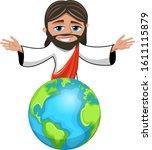 jesus christ cartoon open arms... | Shutterstock .eps vector #1611115879