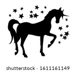 elegant unicorn and stars.... | Shutterstock .eps vector #1611161149