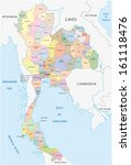 thailand administrative map | Shutterstock .eps vector #161118476