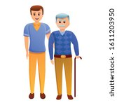 volunteer with grandfather icon.... | Shutterstock .eps vector #1611203950