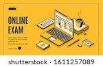 online exam isometric web... | Shutterstock .eps vector #1611257089