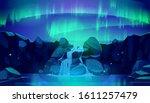 aurora borealis in night sky...   Shutterstock .eps vector #1611257479