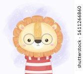 cute lion illustration  baby... | Shutterstock .eps vector #1611266860