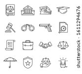 law and justice vector lines... | Shutterstock .eps vector #1611294676