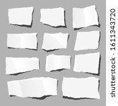 torn rectangular papers set ... | Shutterstock .eps vector #1611343720