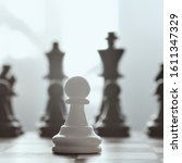 Small photo of Single pawn against many enemies as a symbol of difficult unequal fight or struggle of minorities. Background in blur.