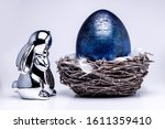 Silver Chrome Easter Bunny With ...