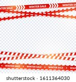 red sale ribbon  winter tapes... | Shutterstock .eps vector #1611364030